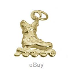3D Real Yellow Solid 10K Gold RollerBlade Inline Skate Charm Rollerskate Jewelry