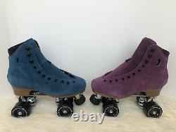 Moonlight Roller Amethyst & Sapphire Suede Skates Size 7 (W8-8.5) Not Moxi Lolly