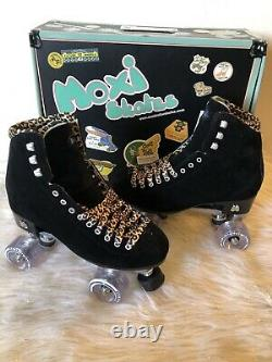 Moxi Panther Roller Skates Size 8 (Womens 8.5-9.5) Black Suede Riedell Lolly