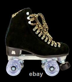 New Moxi Black Suede Panther Roller Skates Size 5-6-7-8-9 Leopard Lolly