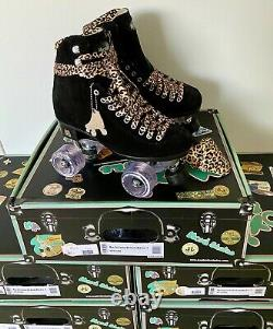 New Moxi Black Suede Panther Roller Skates Size 9 (9-10.5 Womans) Leopard Lolly