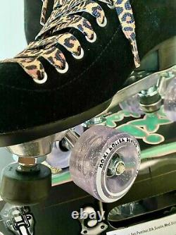 New Moxi Black Suede Panther Roller Skates Size 9 Fits 9.5-10.5 Leopard Lolly