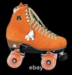 New Moxi Lolly Suede Roller Skates Clemintine Orange Size 7 Fits 8-8.5
