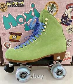 New Moxi Lolly Suede Roller Skates Honeydew Green Size 8 Fits 9-9.5 Discontinued