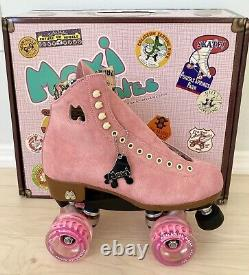 New Suede Moxi Lolly Strawberry Pink Roller Skates Size 8 Fits 8.5-9.5