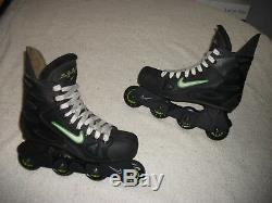 Nike Zoom Air Max Black/green Inline Roller Hockey Blades Skates Mens Size 10.5