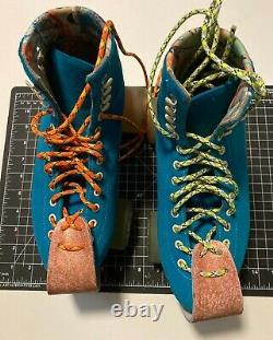 USED Moxi Pool Blue Lolly Roller Skates, size 8 Women - READY TO SKATE BUNDLE