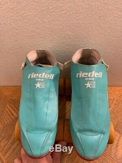 VTG Riedell 395 USA Hyper With Doctor Wheels Red Line Turquoise Green Size 8.5