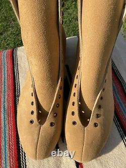 Vintage Riedell 130 Mens Size 16 Tan Suede Leather Skate Boots