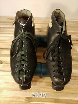 Vintage Riedell Black Leather Roller Skates Size 7 with Hyper Cannibal Wheels