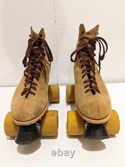 Vintage Riedell Red Wing Roller Skates Suede Women Sz 7 Vision City Flyer Wheels