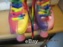 Women size 8, Heel to toe 9 7/8 in. Multi Colored Roller Skates