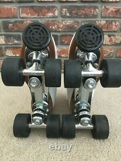 Womens Riedell 121 White Leather Roller Skates Sure Grip Plates & Wheels Size 7
